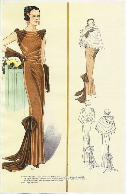 A gorgeous two-tone brown evening dress, 1930s. #vintage #1930s #fashion_illustrations
