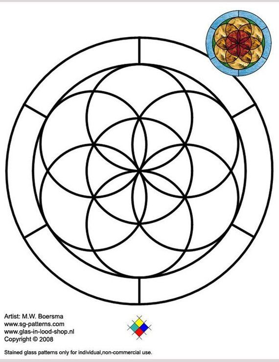 Mandala, Faux Stained Glass, Hand Painted, Flower Of Life