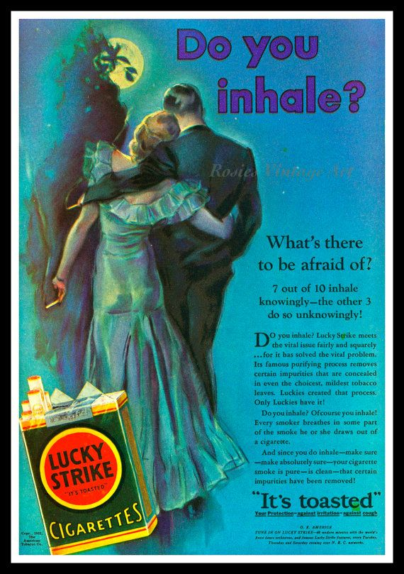 Lucky Strike Cigarettes Vintage 1930s Ad  by RosiesVintagePrints, $25.00