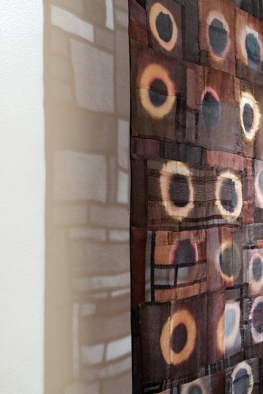 Recent Work - Joan Morris-bleach circles on pieced quilt
