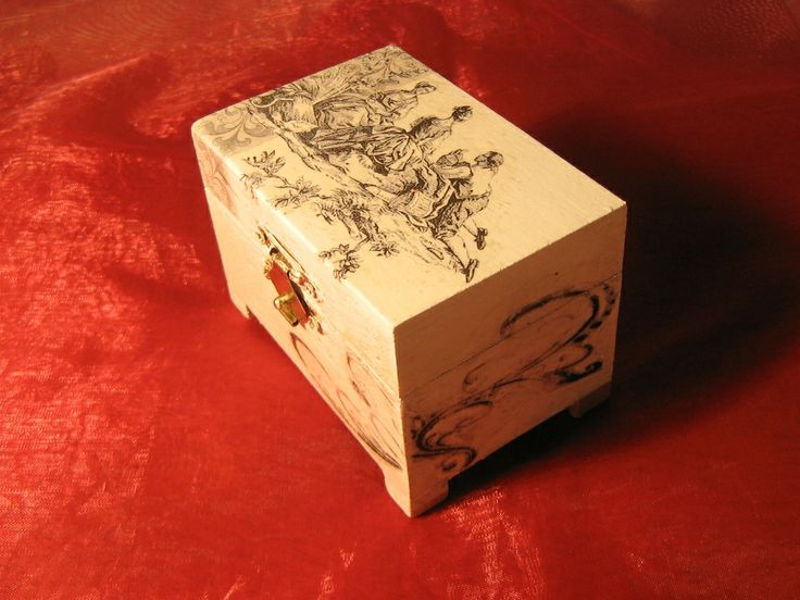 decoupage and image transfer wooden box