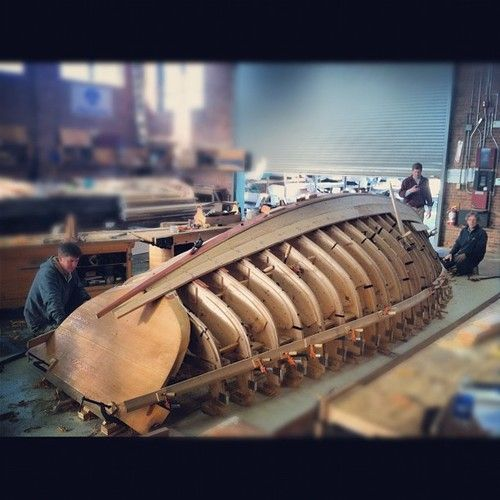 Sometimes watched as my grandfather and crew built large fishing boats. . .