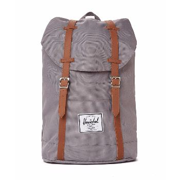 Grey Retreat Backpack: Grey Retreat backpack. The Retreat range is like a shrunken version of Herschel's Little America range. It's given a reinforced bottom, laptop sleeve and contoured shoulder straps for added comfort. Fully lined with signature coated cotton-poly fabric. Magnetic strap closure. Up to 15'' laptop sleeve. Reinforced bottom. External sleeve pocket.