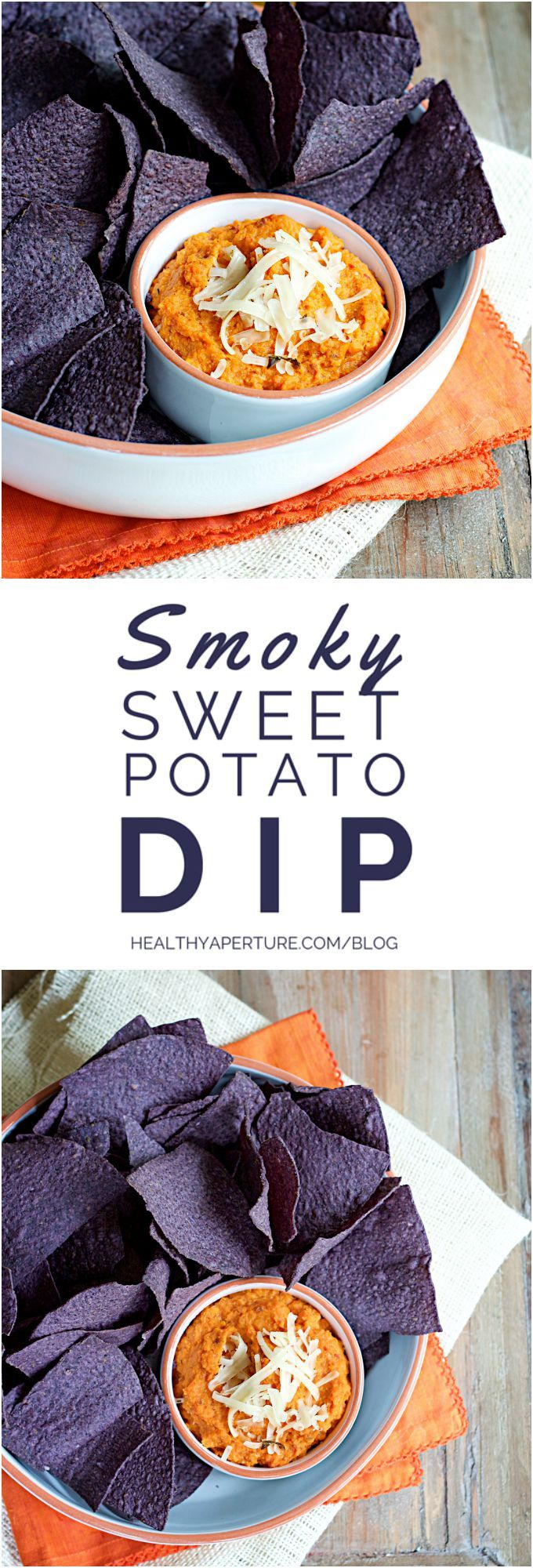 A unique twist on traditional tailgating recipes, this 5 Ingredient, quick and easy Smoky Sweet Potato Dip is healthy upgrade for your gameday spread. Recipe by @ReganJonesRD on HealthyAperture.com.