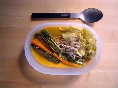 #Schiscetta - Crema di Carote al curry con verdure grigliate e tagliatella al pesto di rucola con germogli di soia