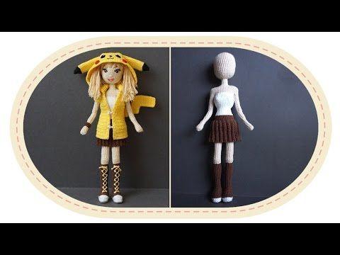 Девушка Пикачу крючком, часть 7 (Юбка). Crochet Pikachu girl, part 7 (Skirt). - YouTube