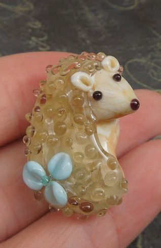 Hedgehog Pendant hedgehog lampwork pendants handmade by Julaglass