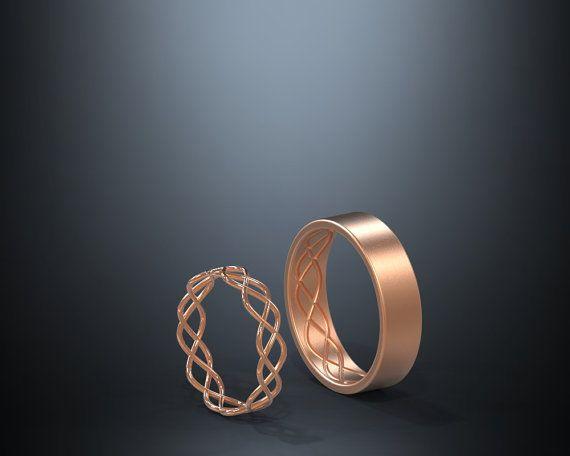 14 K oro rosa anelli di nozze celtico impostare di AverieJewelry