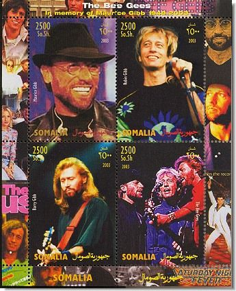 """In October 1999, the Isle of Man Post Office unveiled a set of 6 stamps honoring their native sons' music. The official launch took place at the London Palladium where the stage show of Saturday Night Fever was playing. A similar launch was held in New York shortly after to coincide with the show opening across the Atlantic. The songs depicted on the stamps are """"Massachusetts"""", """"Words"""", """"I've Gotta Get A Message To You"""", """"Night Fever"""", """"Stayin' Alive"""" and """"Immortality""""."""