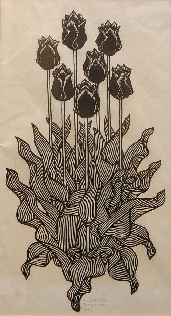 Jacques Hnizdovsky (915-1985) woodcut. Pencil signed, titled 'Tulips', dated 1972. STRAIGHT