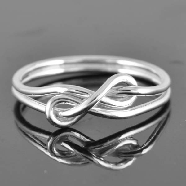infinity ring, infinity knot ring, sterling silver ring, best friend ring, promise ring,personalized ring, friendship ring, sisters ring. $40.00, via Etsy.