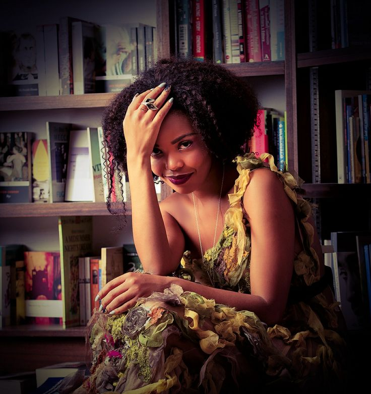 """Terry Pheto wearing the """"Far South Fynbos""""  from the """"Nkosi Sikelel'iAfrika"""" collection"""