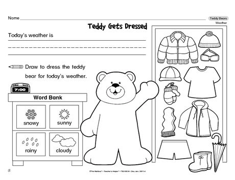 Here's a weather worksheet kiddos can complete several times. Each time they dress Teddy for the day's weather! A freebie from TheMailbox!