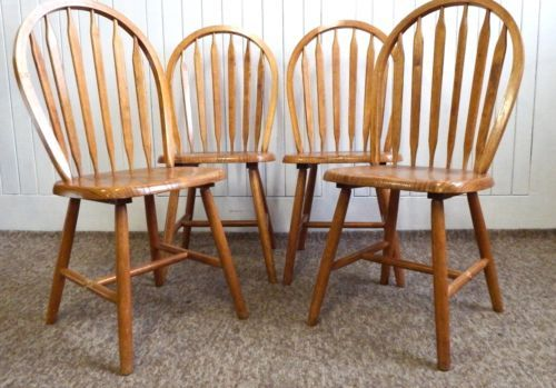 Antique Solid Light Golden Oak Kitchen Dining Chairs X 4
