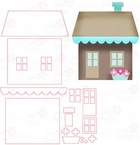 House - Digital Cutting File download for Silhouette Cameo, Scan n Cut etc - Polkadoodles Ltd