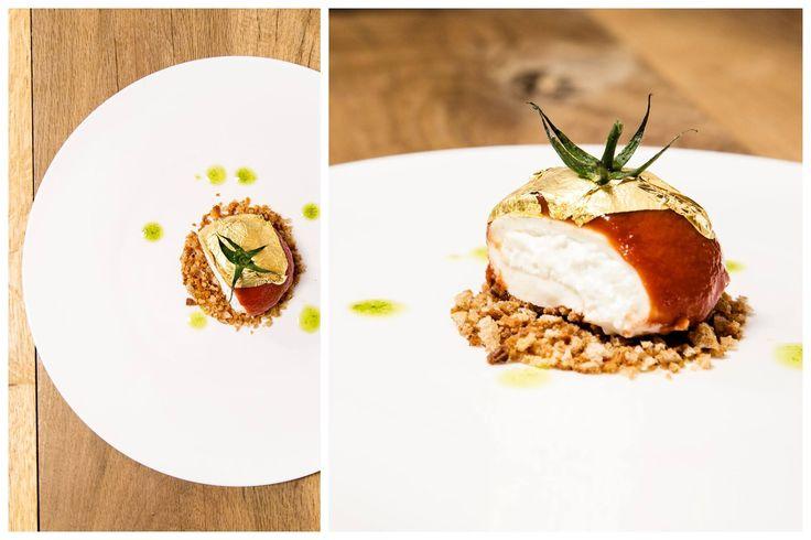 """""""La Palla di Pomodoro"""" - Burratina tiepida glassata al pomodoro, crema di pane e acciughe, tarassaco e tartufo bianco. #palladipomodoro #nostranopesaro #cartanostrano"""