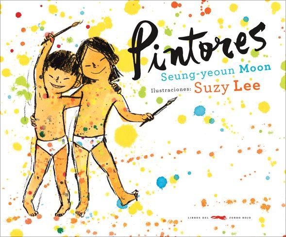 Pintores. Seung-yeoun Moon ; ilustraciones de Suzy Lee.    Ha llegado la hora del baño. La madre de Chin y Jun los llama calurosamente, pero los niños sienten que están demasiado limpios para entrar al agua. Entonces Jun encuentra una caja de acuarelas y le propone a su hermana un divertido juego: pintarse el cuerpo. Los pequeños pintores se convierten en gatos, indios o marinos  ...