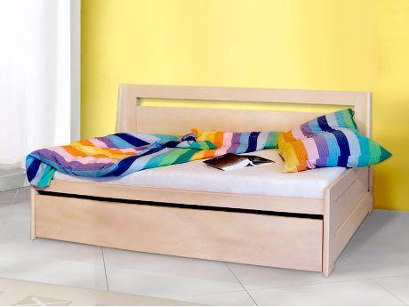 Rozkládací postel Duo v provedení buk lamino (což je jedna ze 12 barev, ve kterých se postel vyrábí). Vyrábí se v rozměrech 80 x 200 cm (po rozložení 160 x 200 cm) a 90 x 200 cm (po rozložení 180 x 200 cm). / Duo sofa bed in beech laminate (which is one of 12 colours, in which the bed can be produced). It's produced in sizes 80 x 200 cm (unfolded 160 x 200 cm) and 90 x 200 cm (unfolded 180 x 200 cm). #sofa #bed #storage #rozkladaci #postel #jmp