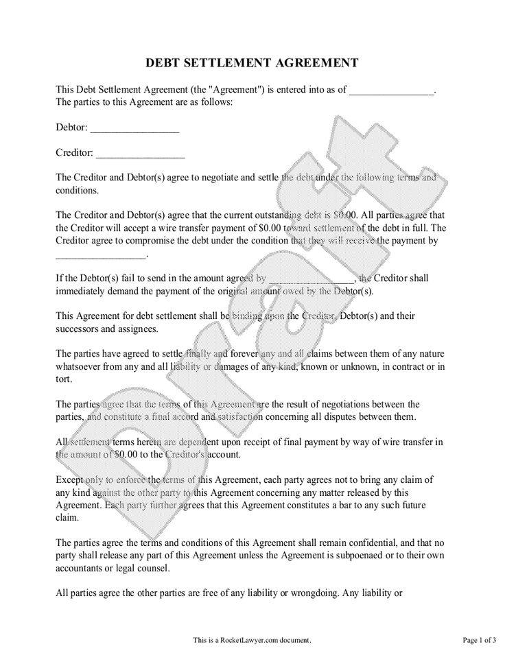Debt Settlement Agreement Preview Debt settlement, Debt