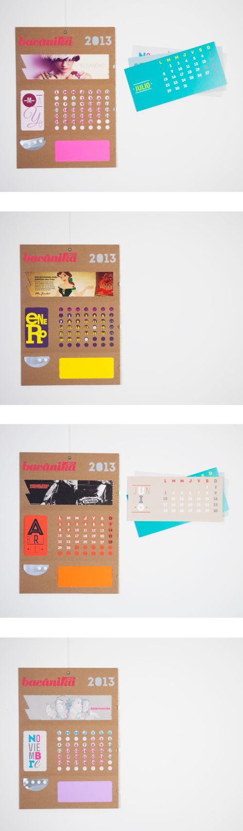 Calendario Bacánika / www.estudio201.com Calendario promocional, muestra de forma general el tono de la revista y algunas de sus secciones de forma INTERACTIVA además de  utilizar materiales y tintas reciclables amigables con el medio ambiente. Dirección artística: diseño, fotografía, composición de piezas gráficas del producto en general.
