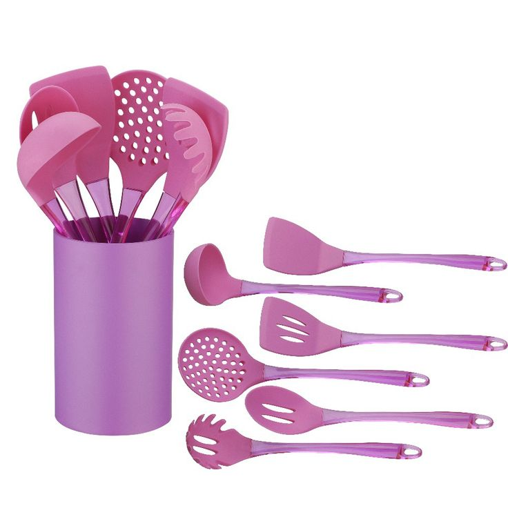 free shipment 7 PCS Silicone cooking tool set With Holder colorful silicone kitchen utensils set