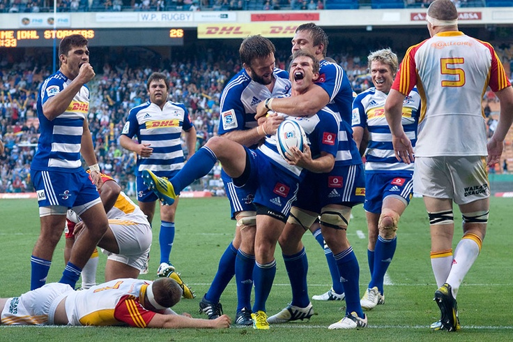 The Stormers' Nic Groom celebrates a try against the Chiefs