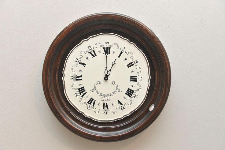 Orologio da Parete Legno Artigianale Numeri Romani Muro Classico Ceramica 3846