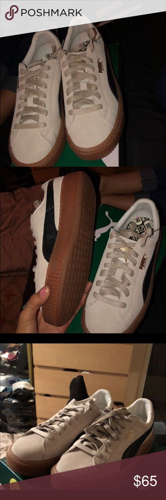 Puma New*. Never been used pumas. Super cute but sister didn't like them. They don't fit me so decided to sell them for half the price I got them for. Puma Shoes Platforms