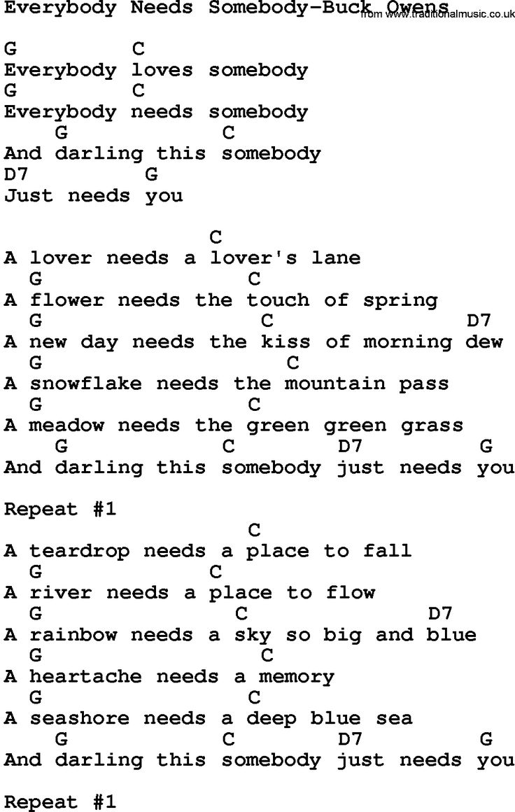 8 best country songs to learn images on pinterest music guitars country music everybody needs somebody buck owens lyrics and chords hexwebz Image collections