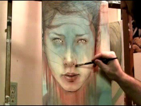 Using a rag to smear paint / apply tone: magical painting video by Michael Shapcott