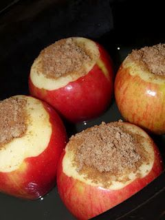 Slow cooked apples stuffed with cinnamon mixture, great with ice cream