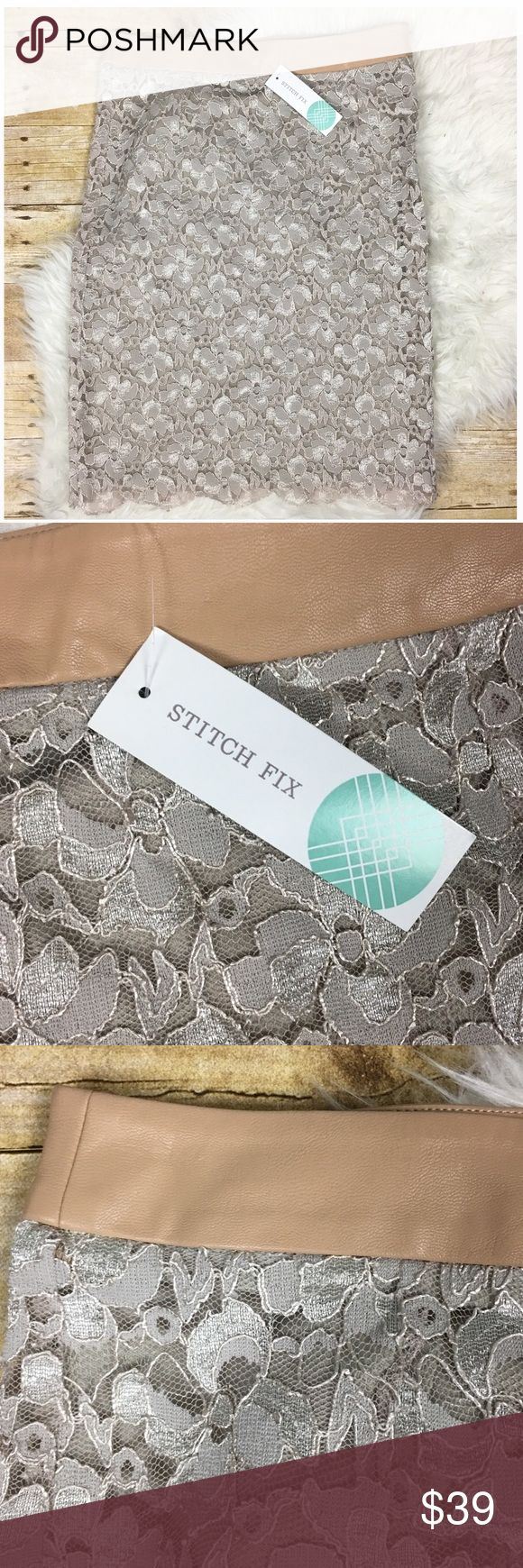 Stitch Fix Brixon Ivy Cyndi Lace Pencil Skirt Stitch Fix Brixon Ivy Cyndi Lace Pencil Skirt Size M Beige color with a metallic sheen 80% acrylic 15% polyester 5% apan Lace Scalloped hem Faux leather waistband Side zipper closure NWT stitch fix Skirts Pencil