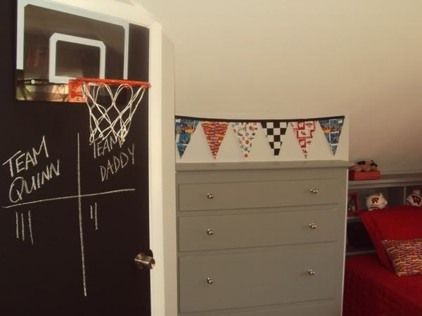 Second Chance to Dream: Teen Boy Bedroom Ideas....I especially love the chalkboard painted door with the basketball hoop on it! Also, the jerseys and former sports shirts made into pillows or hung like a locker room.