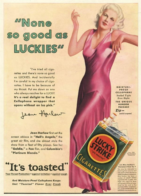 JEAN HARLOW vintage LUCKY STRIKE cigarettes ad…in those days they told you smoking was good for you. (please follow minkshmink on pinterest)