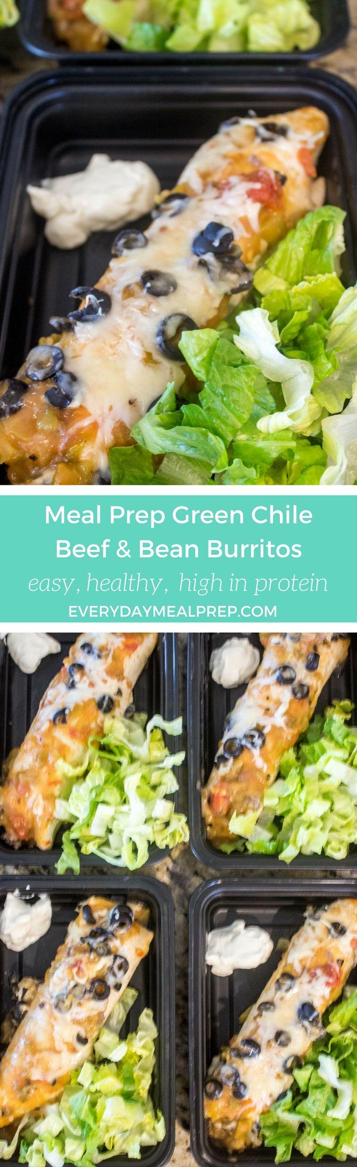 Meal Prep Green Chile Beef & Bean Burritos
