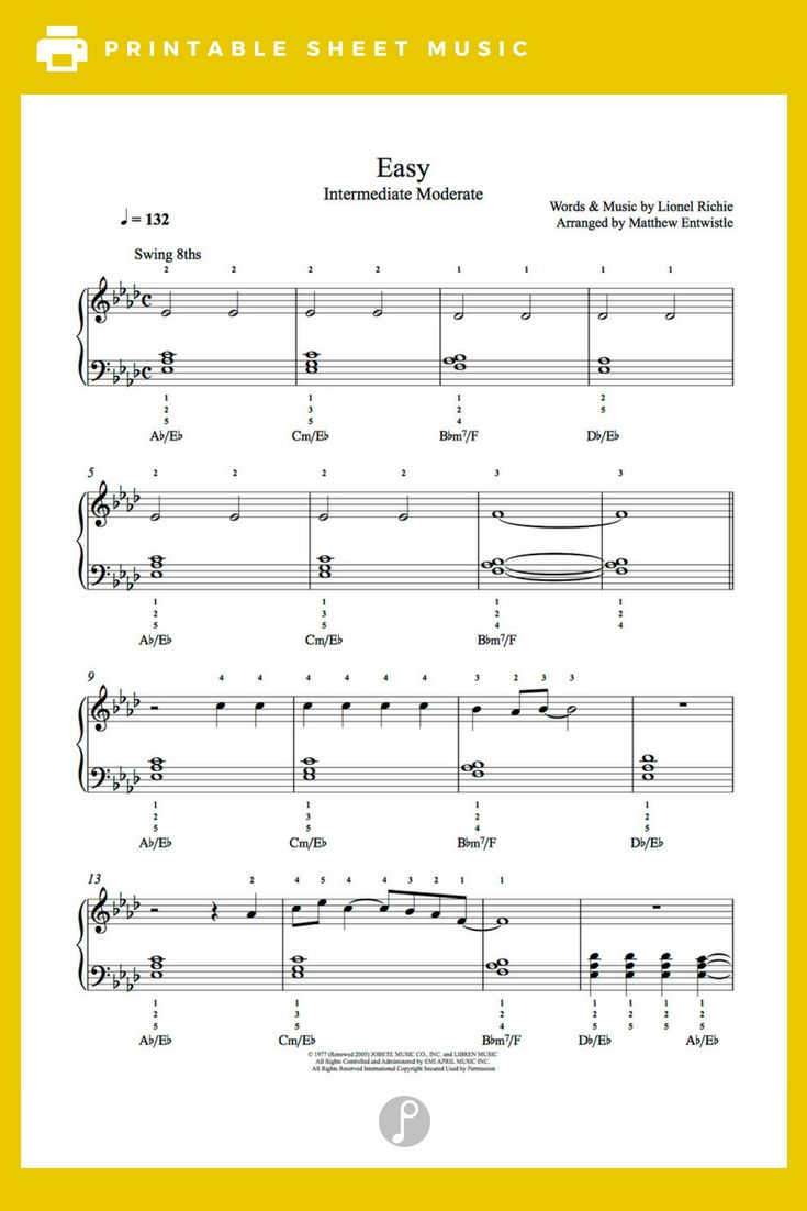 Easy By Commodores Piano Sheet Music Intermediate Level Sheet Music Piano Sheet Music