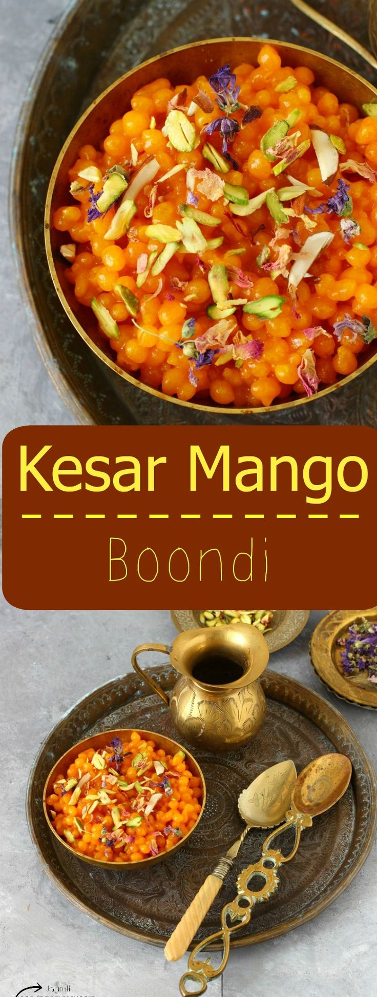 Kesar Mango Boondi - Deep fried gram flour pearls soaked in Mango sugar syrup !