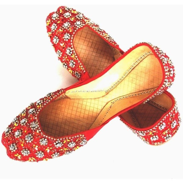 Womens Red Evening Dress Beaded Indian Leather Khussa Shoes Pumps:... ($34) ❤ liked on Polyvore