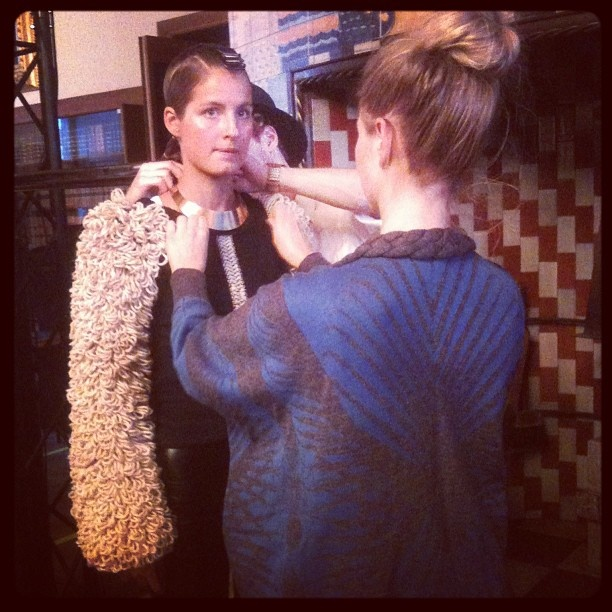Backstage right before the big show  Stine Ladefoged AW13  #CFW #Fashion #knitwear #model #design