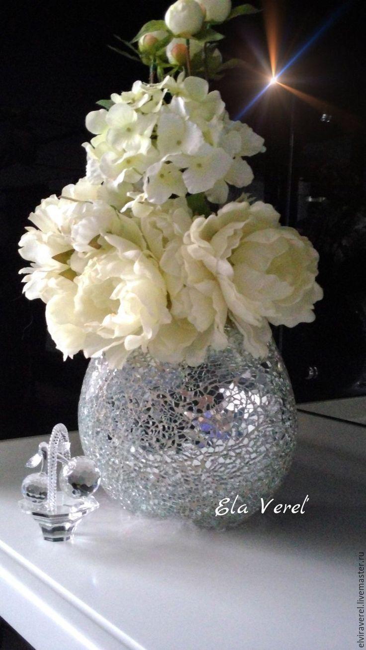 Купить Ваза для цветов мозаичная '' ШЕСТОЕ ЧУВСТВО '' - серебряный, декоративная ваза