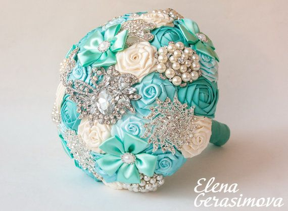 Hey, I found this really awesome Etsy listing at http://www.etsy.com/listing/177325181/brooch-bouquet-ivory-tiffany-blue-fabric