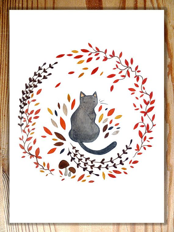 Black Cat and Wreath Original Watercolour by AnnetteJonesArt