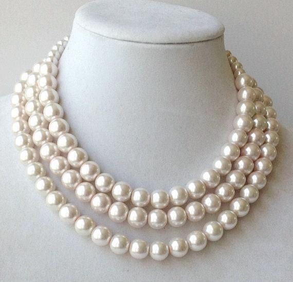 Chunky Pearl Necklace Multi-strand Pearl Necklace by PolishedPlum
