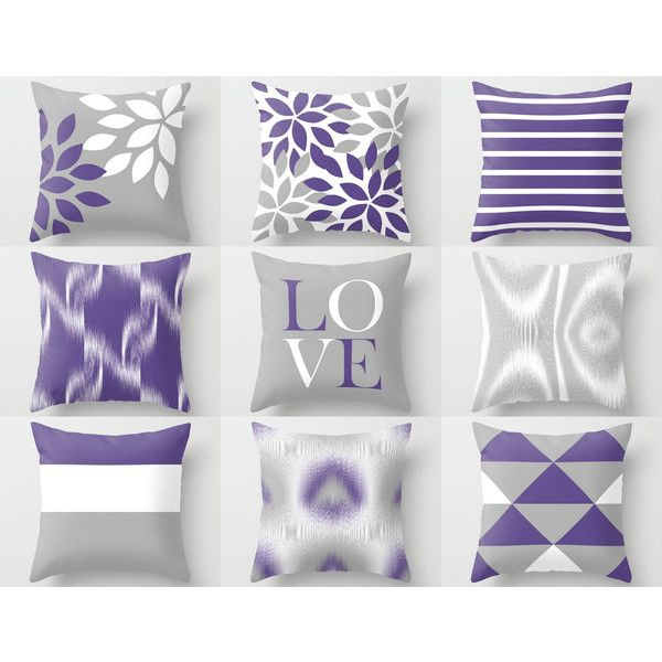 Throw Pillow Covers Ultra Violet Grey White Couch Cushion Cover 31 Aud Liked On Pol Couch Cushion Covers Throw Pillows Throw Pillow Cover Navy