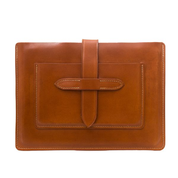 """Apple iPad Air holder and travel wallet combo - for iPad Air 2 or iPad Pro 9.7""""  Sophisticated and elegant, this leather iPad Air holder with travel wallet provides a simple solution to excess hand baggage. Perfect for business travel, the external pocket is big enough to carry travel documents, passport & smart phone. Add that personal touch by personalising with names or a company logo.  It is supplied with a McRostie branded natural cotton dustbag.  Height 19cm / 7.5"""" W..."""