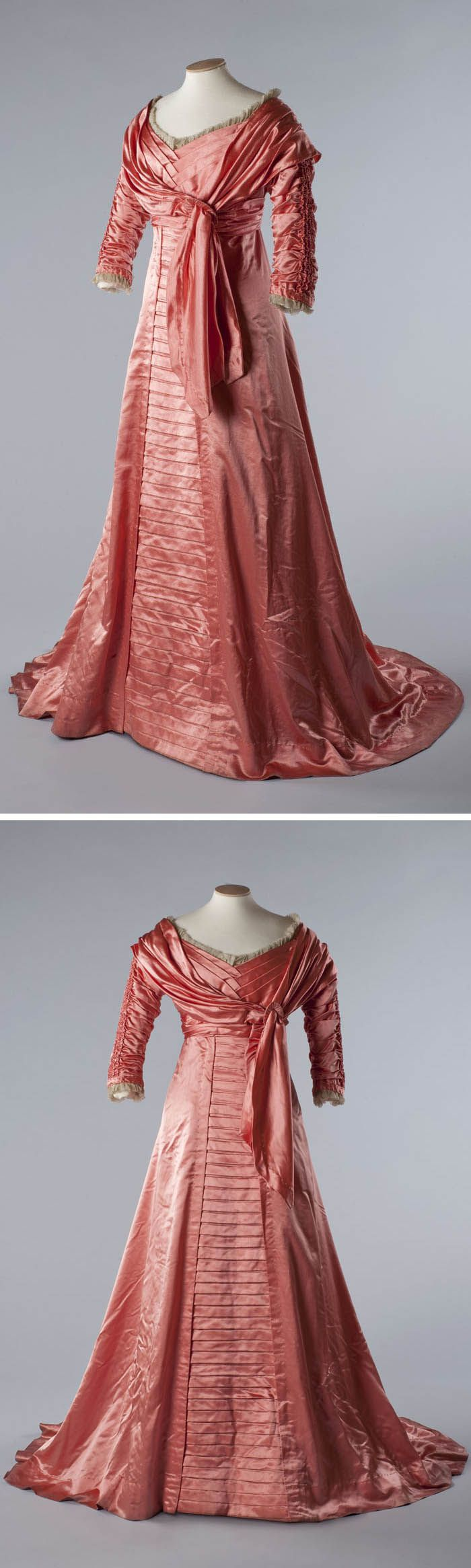 Salmon pink satin evening gown, 1909. Photo by John Chase. Chertsey Museum and Edwardian Culture Network