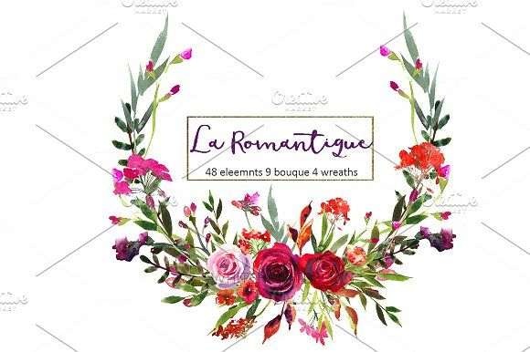 Purple Burgundy Red Flowers Clipart  by whiteheartdesign on @creativemarket