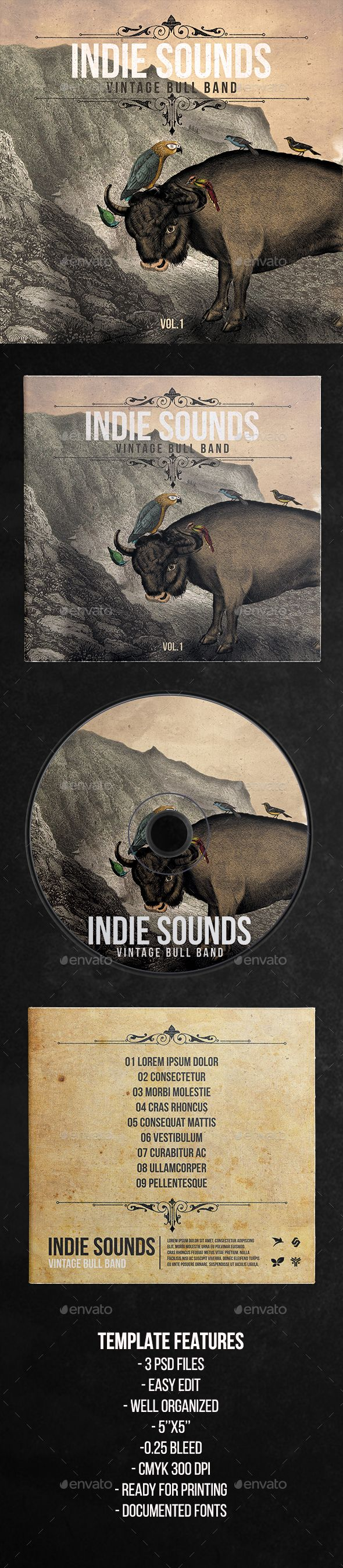Cd box template download free vector art stock graphics amp images - Indie Sounds Music Cd Cover Artwork Template