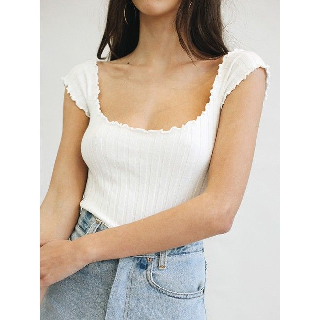 White Rib Knit Frilly Tank Top #AW17 @ ShanghaiTrends.co.uk
