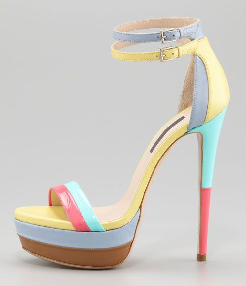 ruthie davis 'west palm' patent pastel colour-block sandals (like these!) #shoeporn